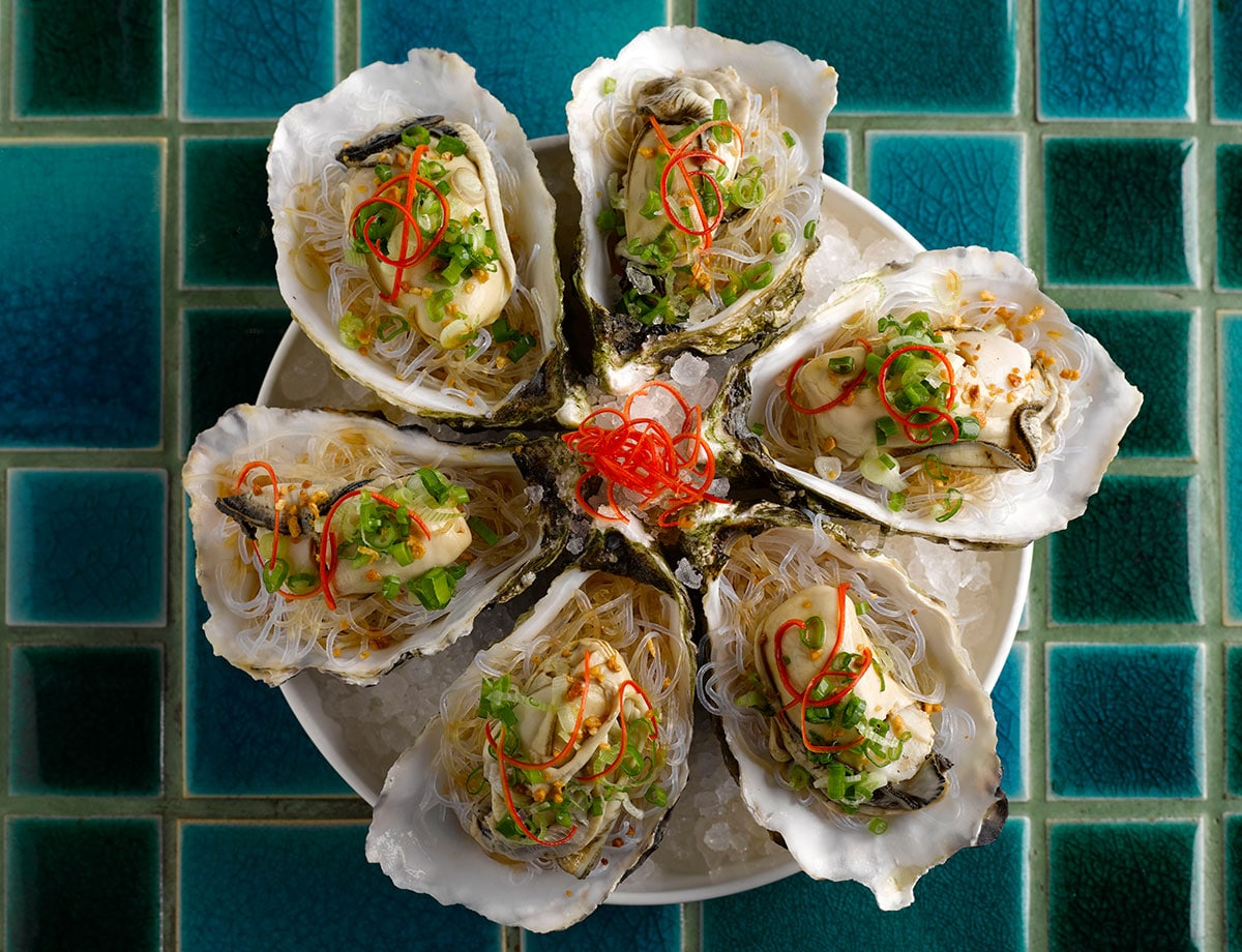 Steamed King Oysters with Garlic Shallots