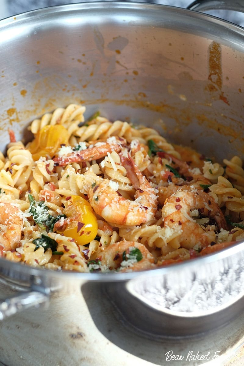 Bear Naked Food Garlic Prawns and Bacon Pasta with Tomato Cream Sauce
