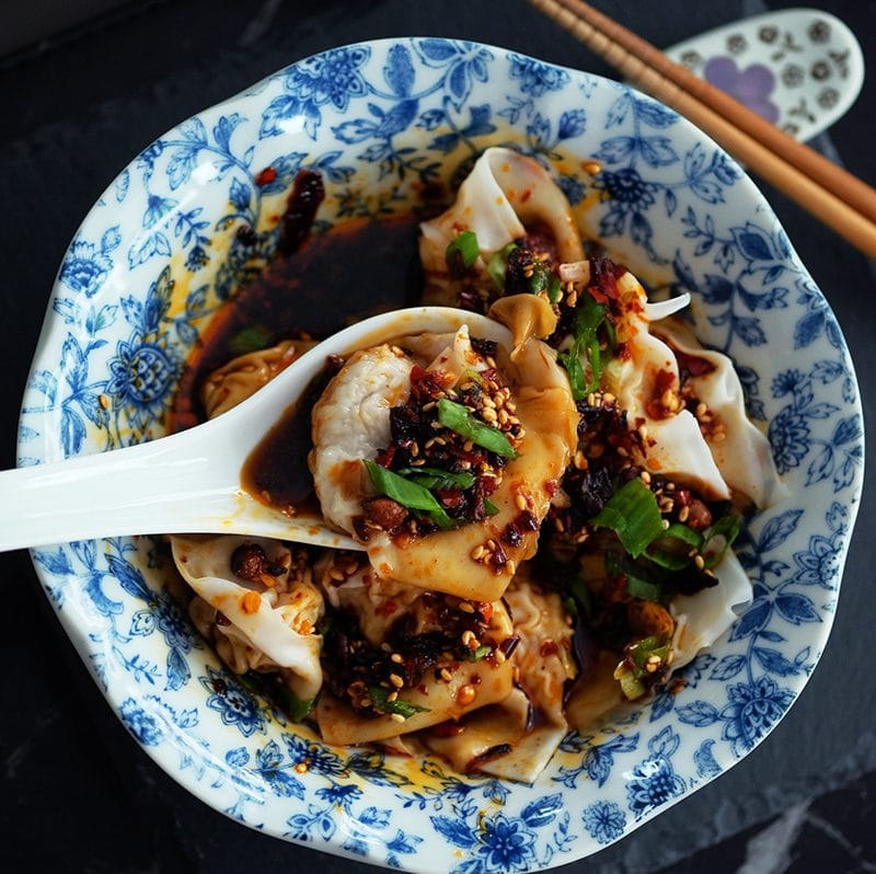 bear naked food homemade wonton in spicy chilli oil