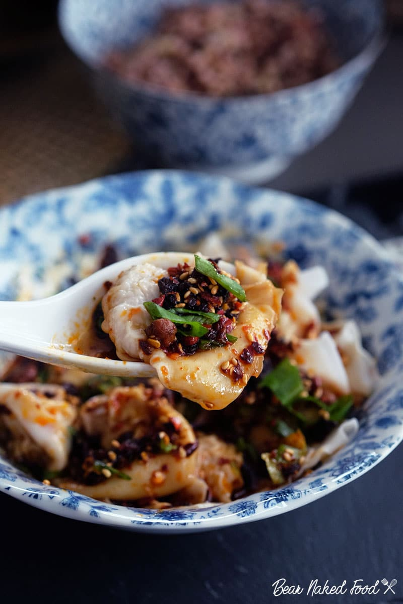 bear naked food homemade wonton in spicy chili oil