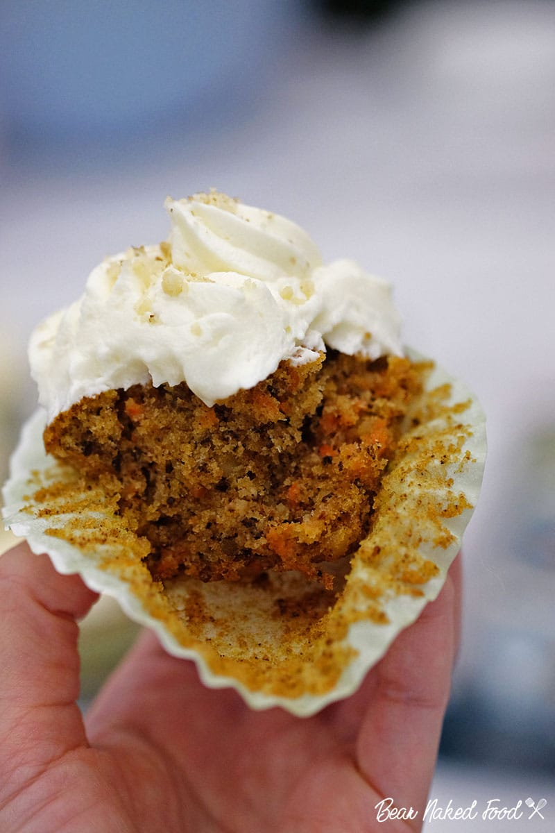 bear naked food carrot cupcake with cream cheese frosting