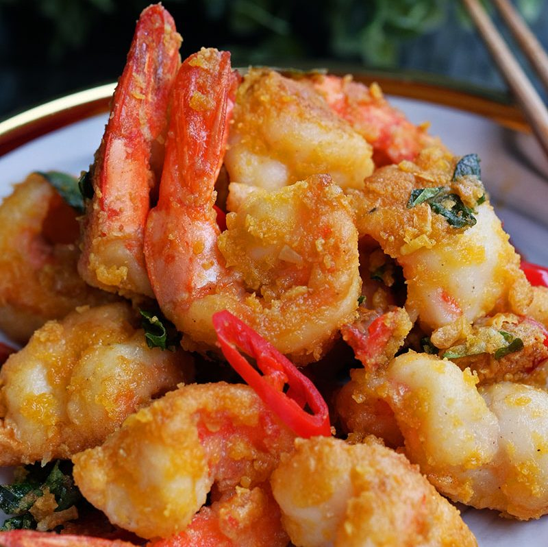 bear naked food golden salted egg prawns