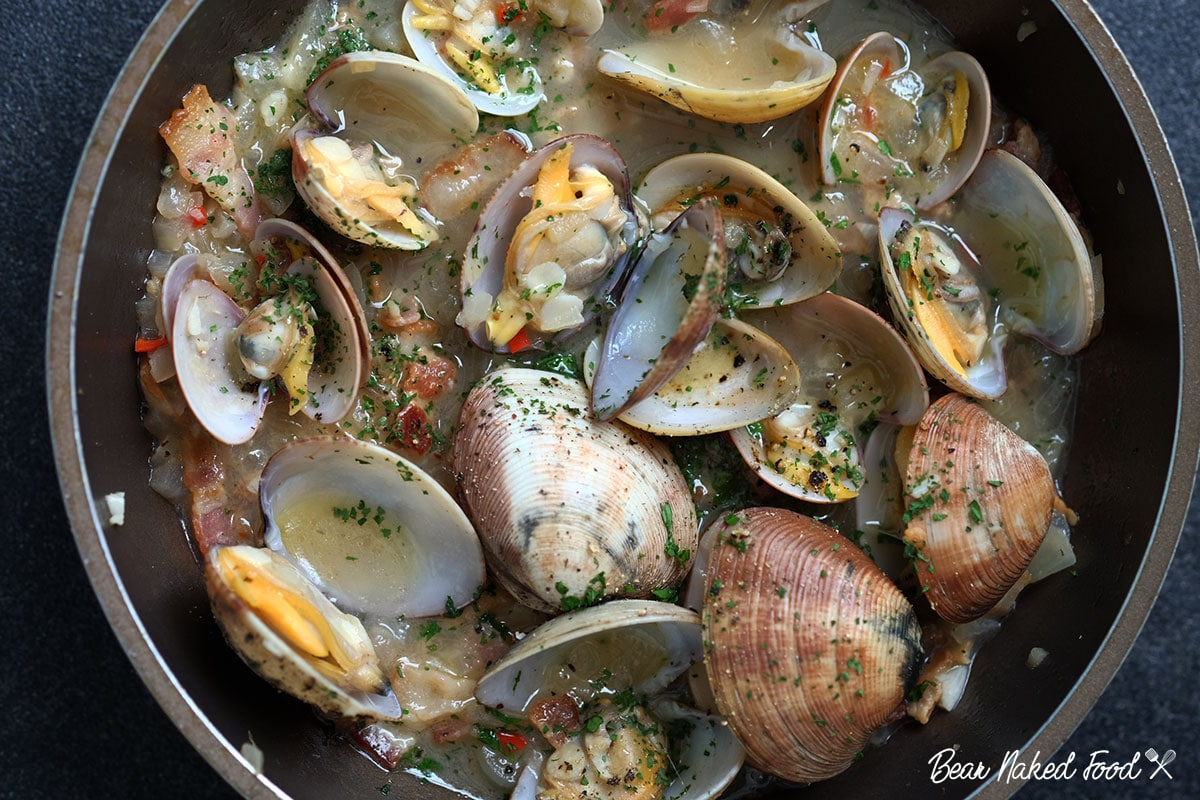 bear naked food steamed clams in white wine butter sauce