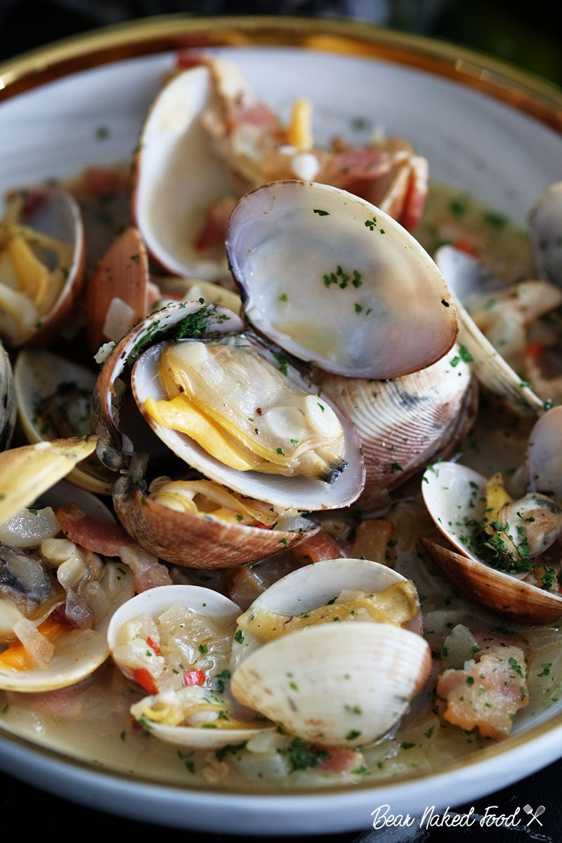 bear naked food steamed clams with white wine butter sauce